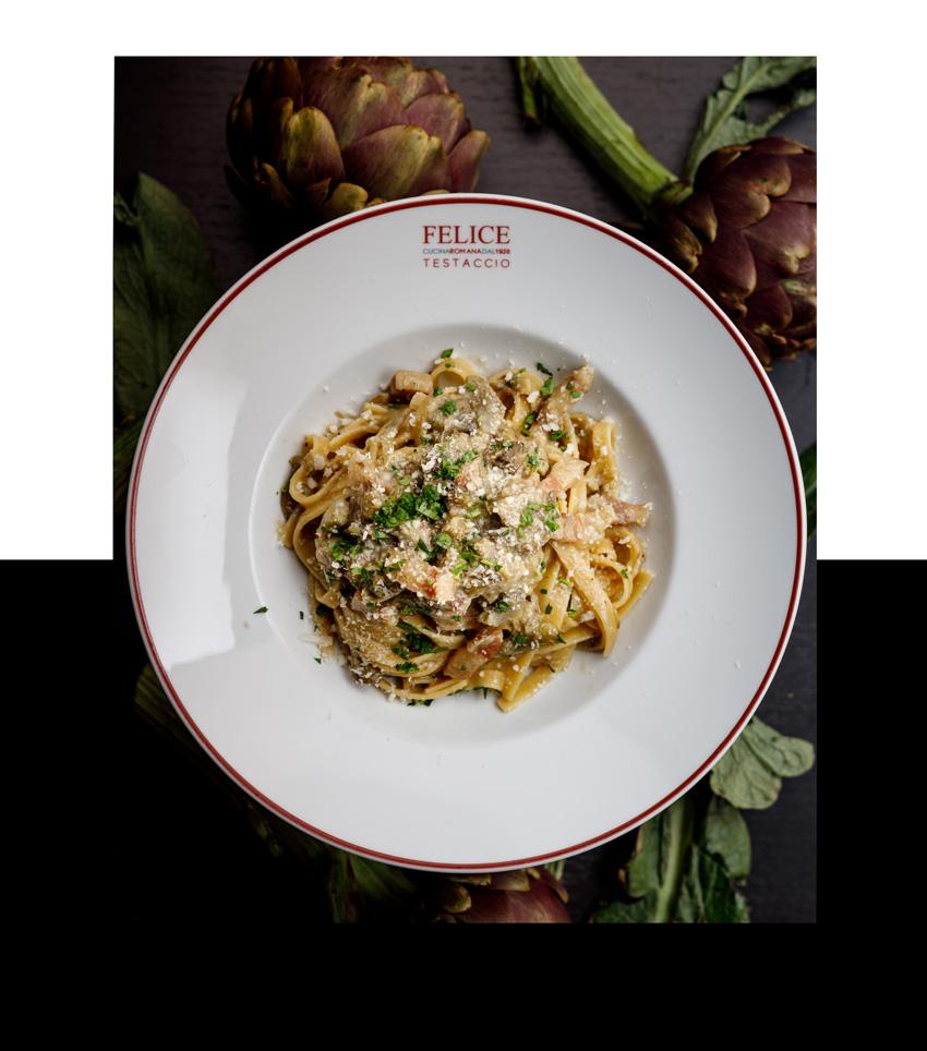 Pasta carciofi gourmet   Felice a Testaccio